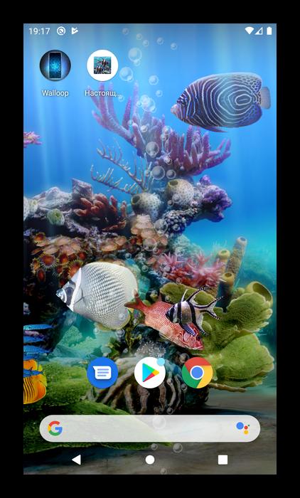 Завершить установку живых обоев в приложении Настоящий аквариум на Android