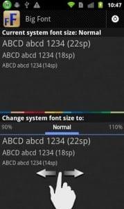 Приложение Big Font для изменения шрифтов