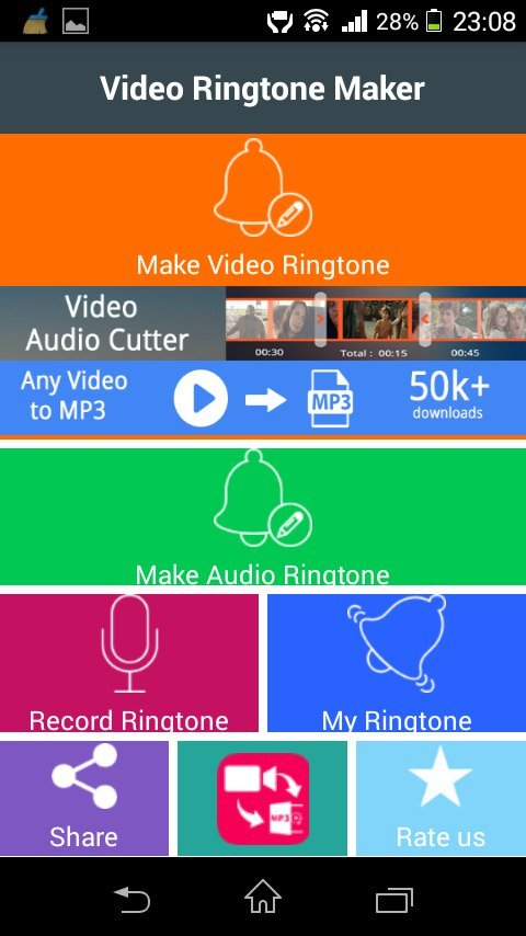 Меню приложения Video Ringtone Maker