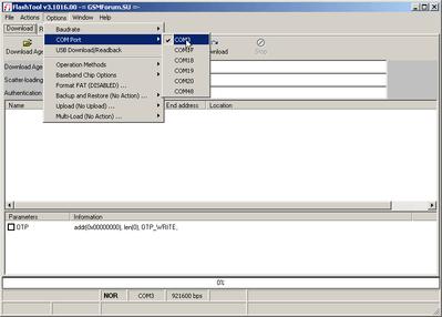 Вкладка COM Port во Flash Tool