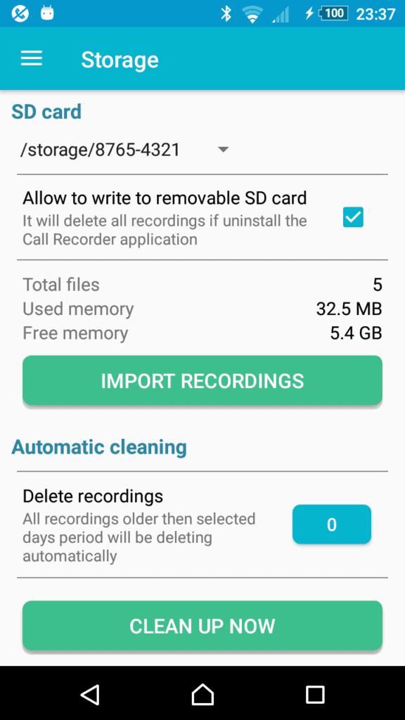 Опция очистки памяти от старых звонков