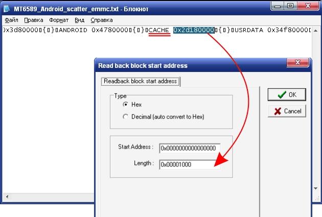 Read back block start address