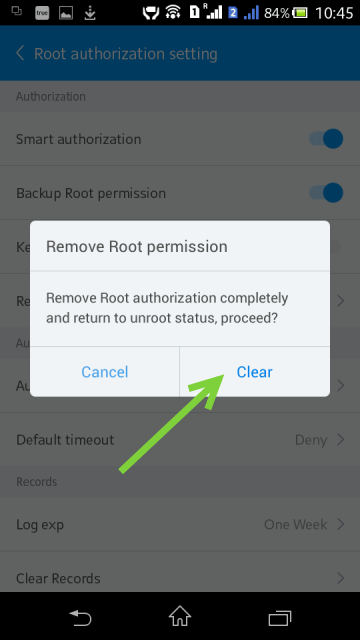 Подтверждение удаления root-прав в Kingo User