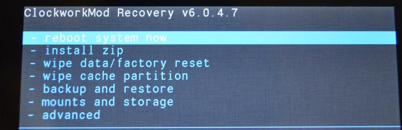 Основное меню CWM Recovery