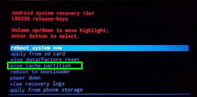 Пункт wipe cache partition в режиме Recovery