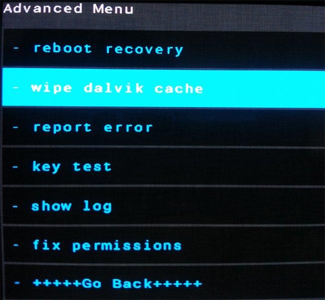 wipe dalvik cache в режиме Recovery