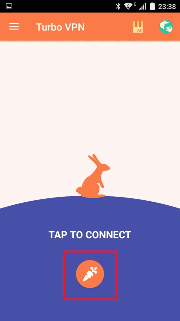 Кнопка в виде морковки в приложении Turbo VPN