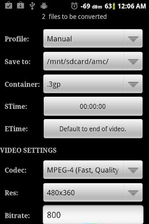 Настройки видео в программе Video Converter Android