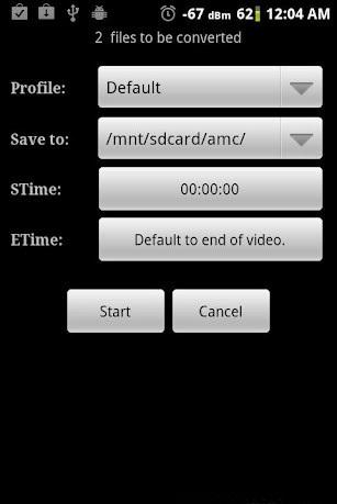 Кнопка Start в программе Video Converter Android
